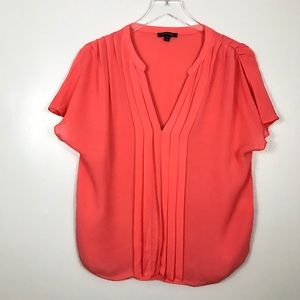 Anthropologie Le Fee Verte Coral Silk Pleated Top